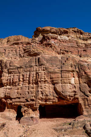 Ancient tombs and shrines that could be seen when walking the scenery Monastery Route had been created for hundreds of years. Petra complex tourist attraction, Hashemite Kingdom of Jordan