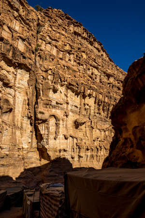 Cliff formations, stunning geology. Amazing views from the scenery Monastery Route, beautiful sunny day at Petra complex and tourist attraction, Hashemite Kingdom of Jordan 版權商用圖片
