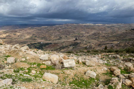 Scenery view, landscape, Promised Land as seen from Mount Nebo, Kingdom of Jordan, Middle East, beautiful clouds in windy winter afternoon 版權商用圖片