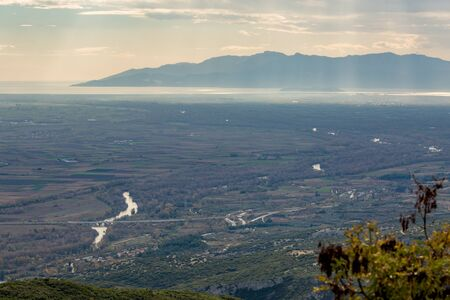 Hazy day, aerial view of river Nestos, Xanthi region, Greece. Nestos River is well known as favorite Greek destination for canoe and kayak