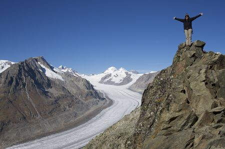 aletsch: blue sky over the Aletsch glacier in state valais in switzerland Stock Photo