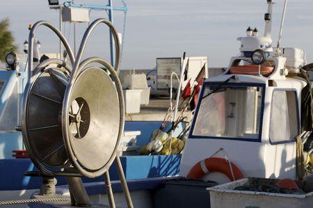 trawler net: Net trommel of trawler Stock Photo
