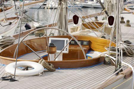 hight tech: modern hight tech cockpit of sailing boat