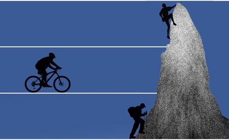 wanderer: biker, hiker, freeclimber as silhouette in illustration