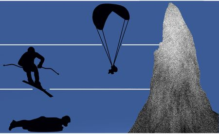 luger: paraglider, skier and luger as silhouette in illustration