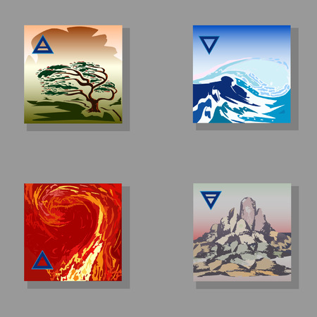 fire and water: four elements (Fire, Water, Earth, Air) hand-drawing Illustration