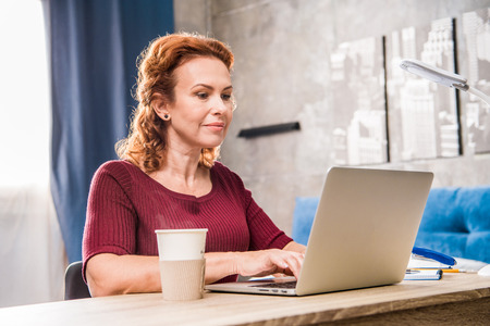 Attractive smiling woman using laptop sitting at the table