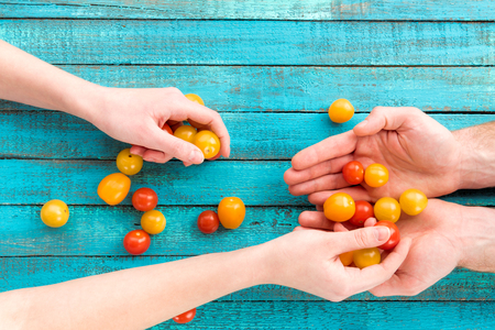 female putting cherry-tomatoes in hands