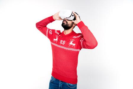 man using virtual reality Stock Photo