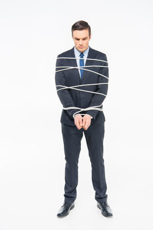roped: Young roped businessman