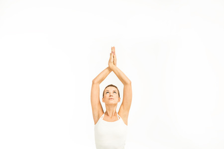 Vrouw beoefenen van yoga Stockfoto