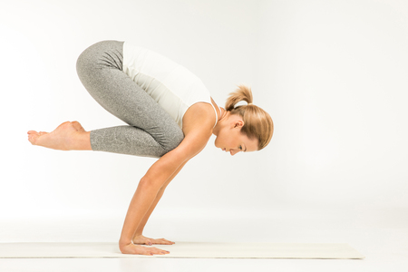 kundalini: Woman standing in yoga position Stock Photo