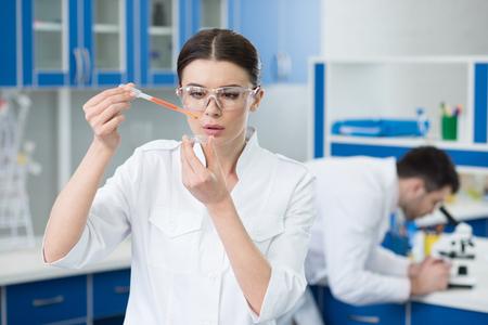 作業集中女性科学者の肖像