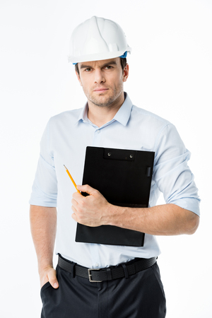 executive helmet: Male architect in hard hat Stock Photo