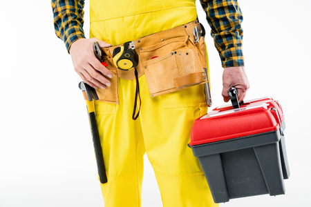 laboring: Workman with tool kit Stock Photo