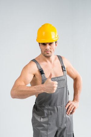 Handsome male builder Stock Photo