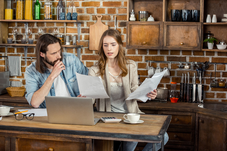 homeoffice: Couple working at home Stock Photo