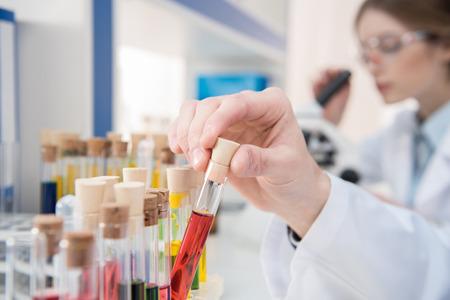 Test tubes with reagents 版權商用圖片