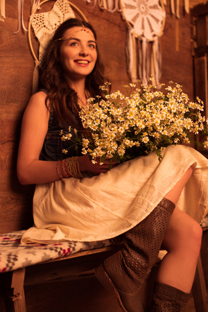 Young woman with bouquet Stock Photo
