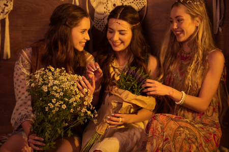 Young women with flowers