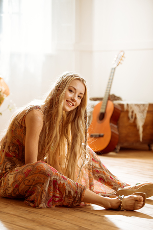 Young hippie woman