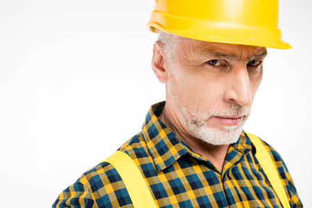 Workman in hard hat Stock Photo