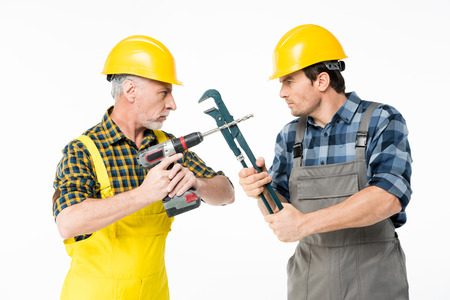 Construction workers with tools