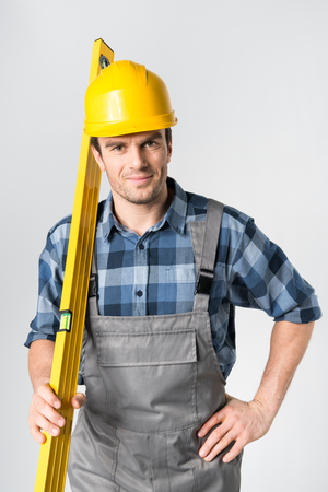 architect tools: Workman with level tool