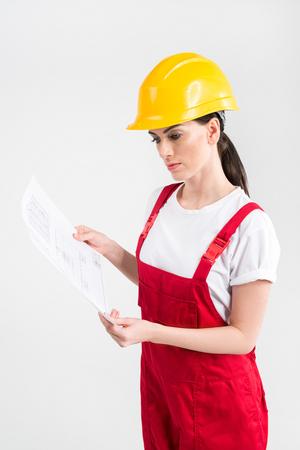 workwoman: Female engineer in helmet Stock Photo