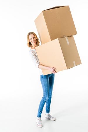 Jonge vrouw met dozen Stockfoto