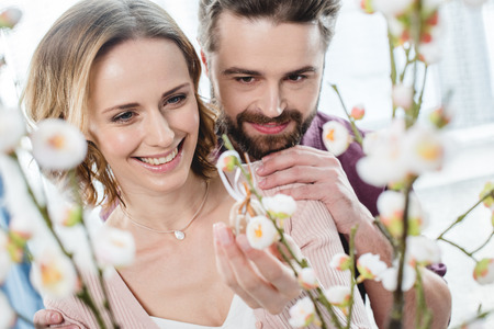 Couple with easter decoration Stock Photo