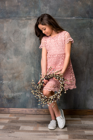 full willow: Little girl with catkins wreath
