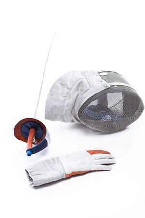 professional fencing equipment on white