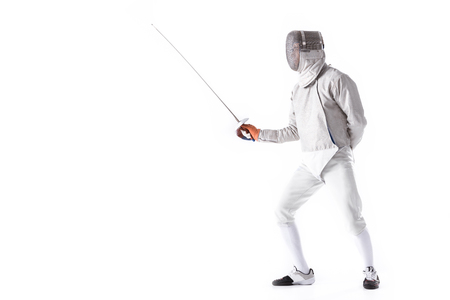 man wearing fencing suit practicing with sword Imagens - 76424465