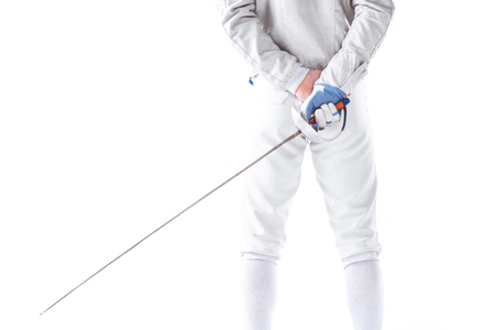 back view of fencer in uniform holding rapier in hand