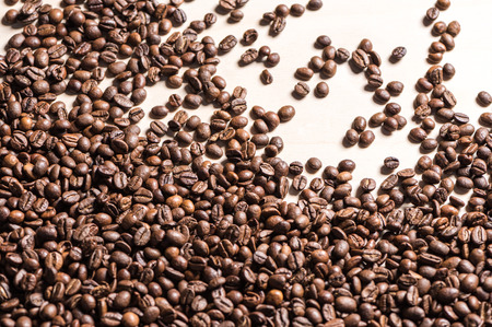 Top view of roasted coffee beans Imagens