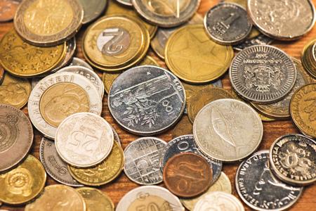 bovenaanzicht en close-up van verschillende munten