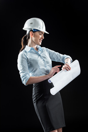 Female architect in helmet Stock Photo