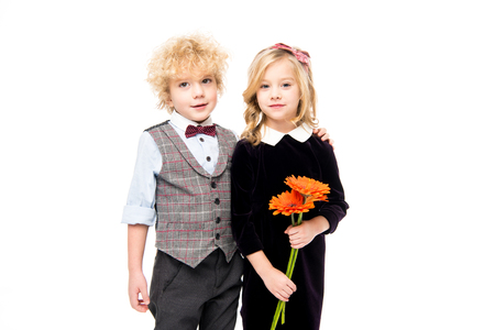 Beautiful children with flowers