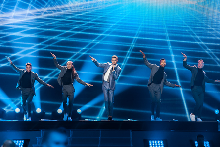 KYIV, UKRAINE - MAY 08, 2017:   Robin Bengtsson from Sweden at the first semi-final rehearsal during Eurovision Song Contest, in Kyiv, Ukraine