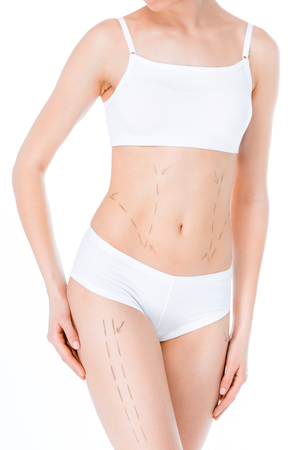 woman with correction lines Stock Photo