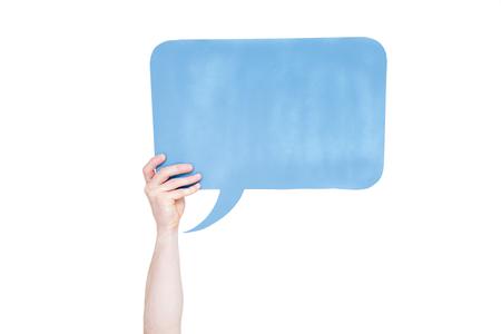 persoon die blauwe lege tekstballon met kopie ruimte geïsoleerd