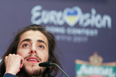 KYIV, UKRAINE - MAY 14, 2017:   Salvador Sobral from Portugal at the Press conference during Eurovision Song Contest, in Kyiv, Ukraine