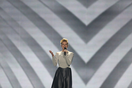 KYIV, UKRAINE - MAY 10, 2017:  Levina from Germany at the second semi-final rehearsal during Eurovision Song Contest, in Kyiv, Ukraine