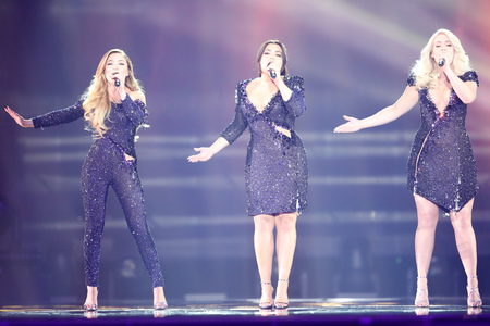 KYIV, UKRAINE - MAY 10, 2017:  OG3NE from Netherlands at the second semi-final rehearsal during Eurovision Song Contest, in Kyiv, Ukraine