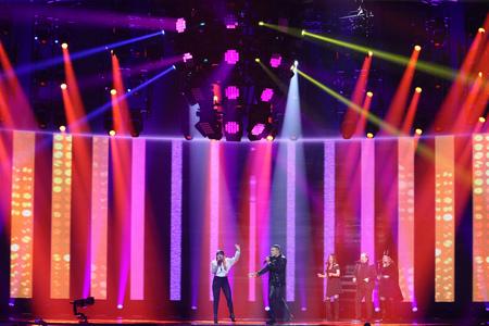 KYIV, UKRAINE - MAY 10, 2017: Valentina Monetta & Jimmie Wilson from San Marino at the second semi-final rehearsal during Eurovision Song Contest, in Kyiv, Ukraine