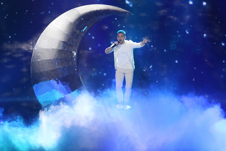 KYIV, UKRAINE - MAY 10, 2017:  Nathan Trent from Austria  at the second semi-final rehearsal during Eurovision Song Contest, in Kyiv, Ukraine
