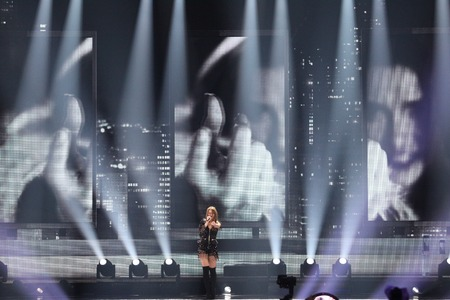 KYIV, UKRAINE - MAY 10, 2017:   Jana Burceska from Macedonia at the second semi-final rehearsal during Eurovision Song Contest, in Kyiv, Ukraine