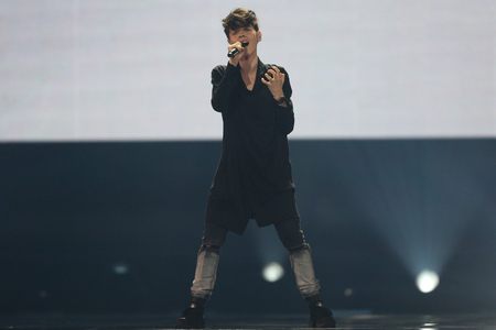 KYIV, UKRAINE - MAY 10, 2017:  Kristian Kostov from Bulgaria at the second semi-final rehearsal during Eurovision Song Contest, in Kyiv, Ukraine