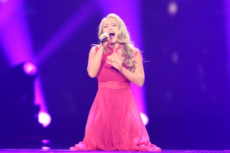 KYIV, UKRAINE - MAY 10, 2017:  Anja Nissen from Denmark at the second semi-final rehearsal during Eurovision Song Contest, in Kyiv, Ukraine